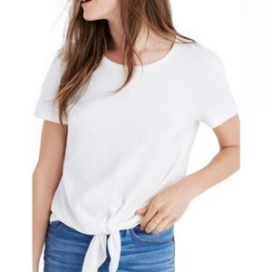 Madewell tie front tee shirt crinkle textured top